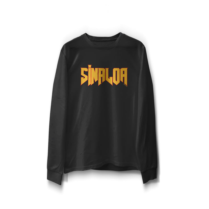 "black long sleeve word print ""Sinaloa"" in orange with red outline"