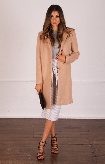 TIA TEXTURED WOOL COAT - Camel / Black