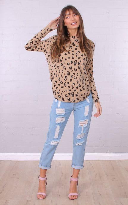 AMELIA LIGHTWEIGHT KNIT TOP - Animal Print
