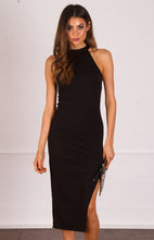 BRIANA HIGH NECK SIDE SPLIT DRESS - Black