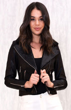 INDIE VEGAN LEATHER JACKET WITH DETACHABLE SHERPA COLLAR PIECE - Black