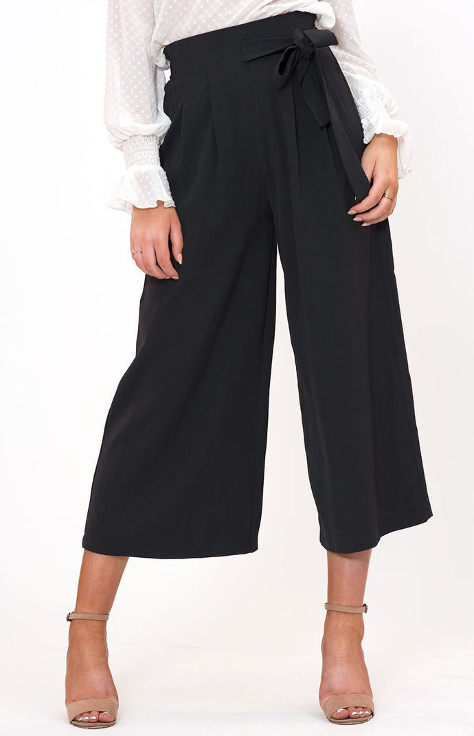 CLEO CROPPED ALINE WIDE LEG PANTS - Black