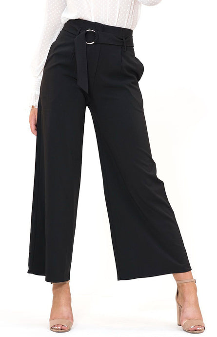 HAYLEY HIGHWAIST WIDE LEG PANTS - Black