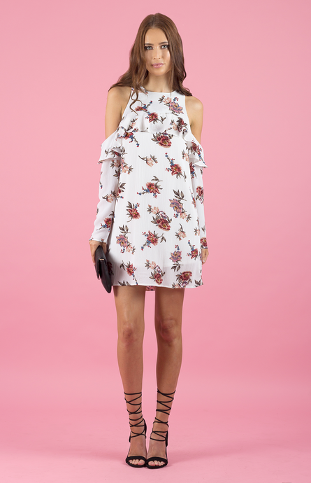 KARA OFF SHOULDER SHIFT DRESS - White Floral