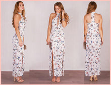 ARIELLE HIGH NECK MAXI DRESS WITH SPLITS - White Floral