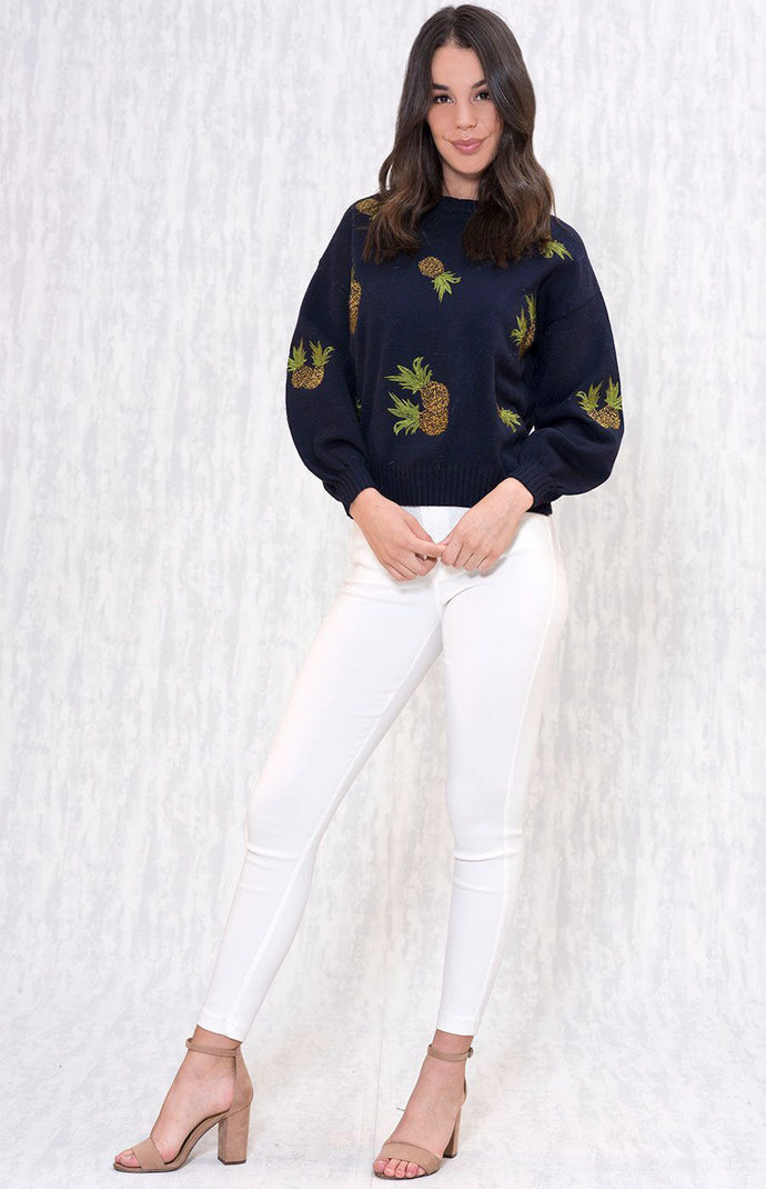 ELLY PINEAPPLE EMBROIDERED KNIT JUMPER WITH SLOUCH SLEEVES - Navy
