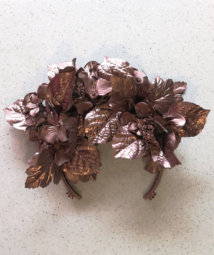 ROYAL FLOWER CROWN HEAD PIECE - Copper Rose