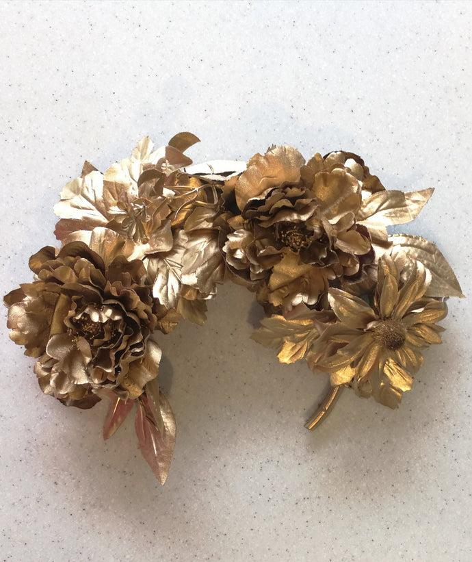 GODDESS FLOWER CROWN HEAD PIECE - Gold