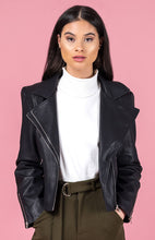 LARA VEGAN LEATHER JACKET - Smooth Black / Textured Black