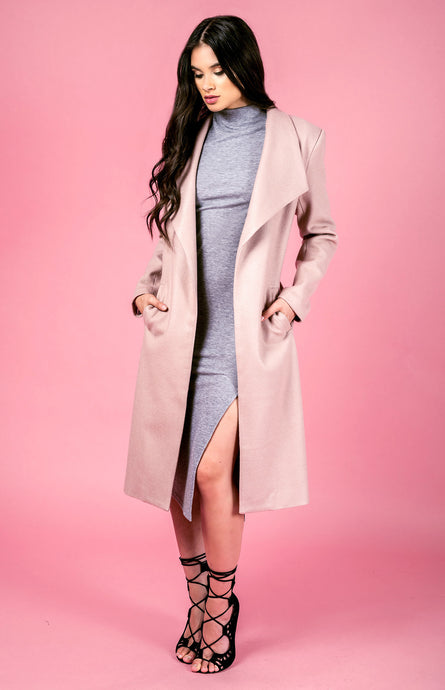 LIANA LONGLINE COAT - Blush