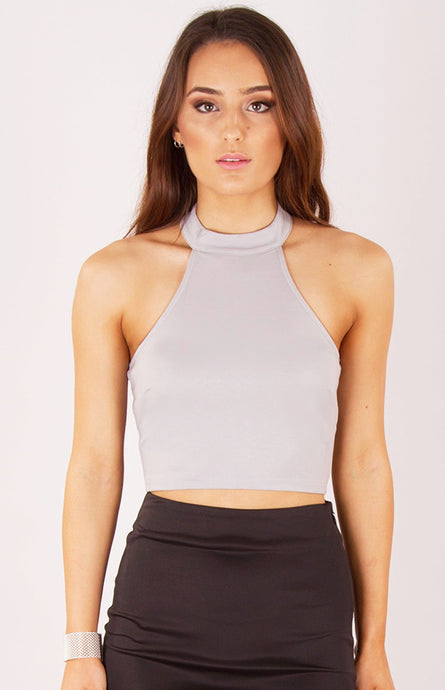 SAM HIGH NECK CROPPED TOP - Dove Grey