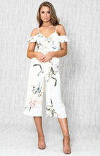 SIERRA OFF SHOULDER RUFFLE BUST CROPPED JUMPSUIT - White Floral