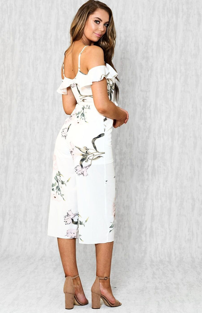 7c8a6a7857 ... SIERRA OFF SHOULDER RUFFLE BUST CROPPED JUMPSUIT - White Floral ...