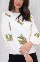 ELLY PINEAPPLE EMBROIDERED KNIT JUMPER WITH SLOUCH SLEEVES - White