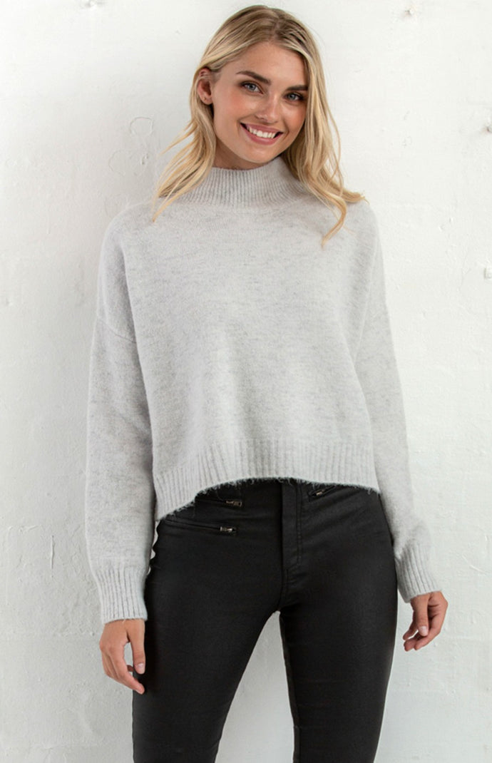 AYLA FUNNEL NECK FLUFFY KNIT TOP - Grey Marle