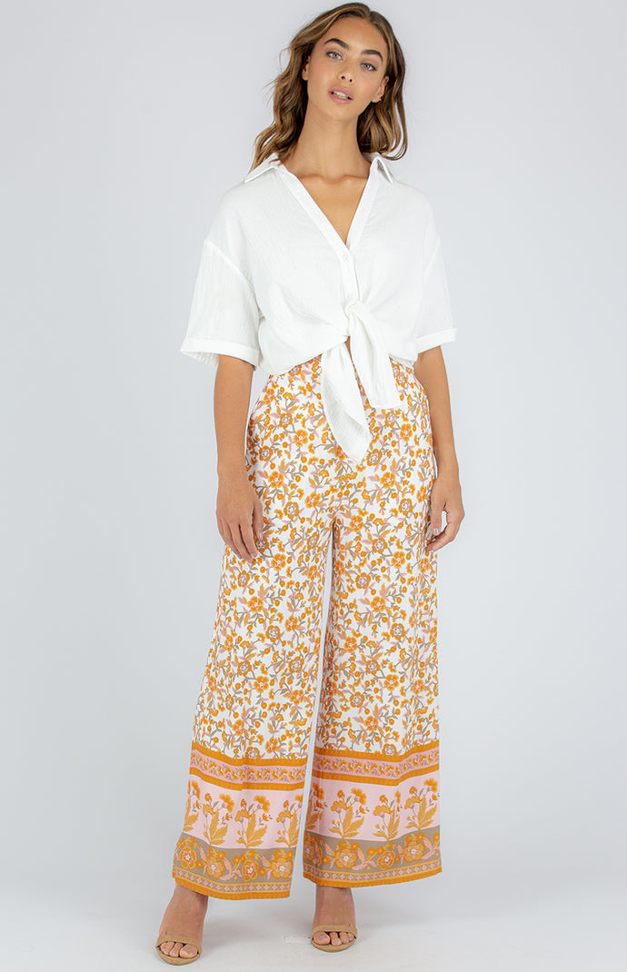 KOKOMO WIDE LEG COTTON PANTS - Sunset Boho Floral
