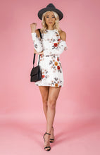 KARA COLD SHOULDER FLORAL PRINT SHIFT DRESS - White