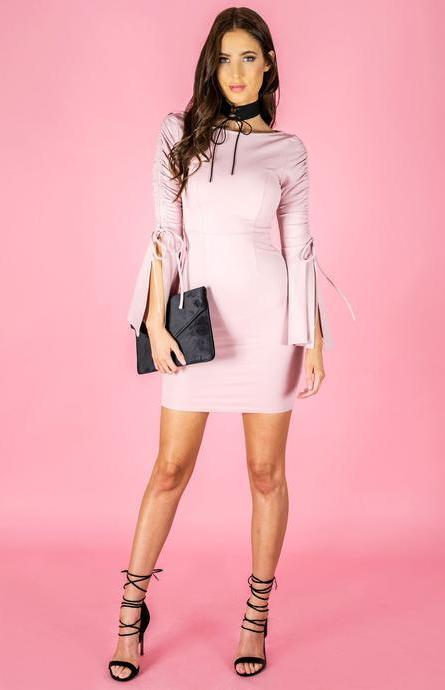 SARA DRAWSTRING BELL SLEEVE DRESS - Blush