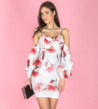 MIA FLORAL PRINT OFF SHOULDER OVERSIZED SLEEVE DRESS - White