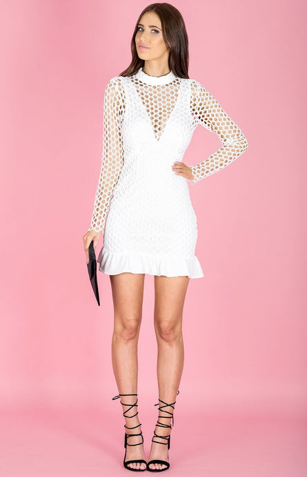 ZARAH LONG SLEEVED DRESS WITH MAXI MESH LACE OVERLAY - White