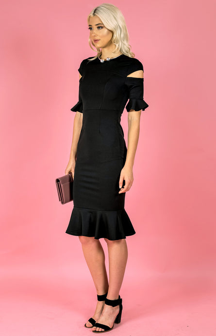 DALIA DROP SHOULDER RUFFLE DRESS - Black