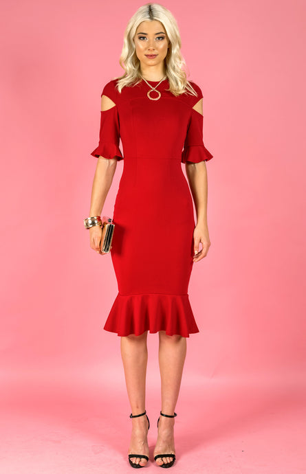 DALIA DROP SHOULDER RUFFLE DRESS - Red