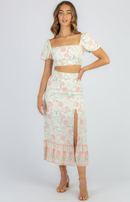 BECCA BUBBLE SLEEVE TOP & SKIRT SET - Coral Floral