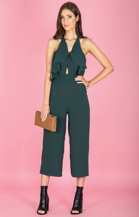 RIANA RUFFLE BUST CROPPED HEM JUMPSUIT - Bottle Green