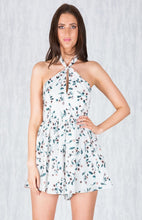 MILLA FLORAL TWISTED TIE HALTER ROMPER - White Floral