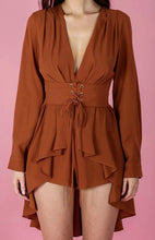 LIA LONG SLEEVE LACE UP BELT ROMPER WITH SKIRT OVERLAY - Burnt Orange