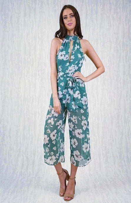 SHAYLA WIDE LEG CROPPED JUMPSUIT WITH SIDE SPLITS & HIGH NECK - Green Floral
