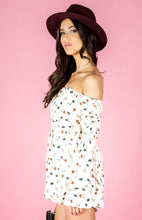 EVIE OFF SHOULDER FLORAL PRINT BELL SLEEVE ROMPER - Off White
