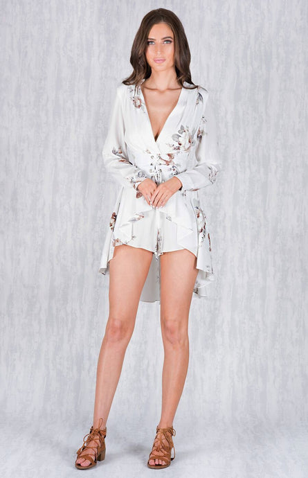 LIA LONG SLEEVE LACE UP BELT ROMPER WITH SKIRT OVERLAY - White Floral