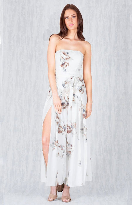 ZOE SPLIT FRONT WIDE LEG JUMPSUIT - White Floral
