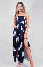 ZOE SPLIT FRONT WIDE LEG JUMPSUIT - Black Floral