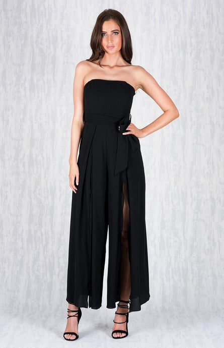 ZOE SPLIT FRONT WIDE LEG JUMPSUIT - Black