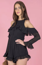 CHARLOTTE CONFETTI TEXTURED COLD SHOULDER RUFFLE ROMPER - Black