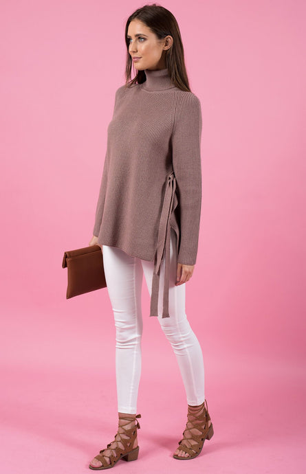 TAMMI TIE SIDE ROLL NECK KNIT TOP - Taupe