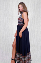 MARA HIGH NECK MAXI DRESS WITH SIDE SPLIT, TRIM INSERTS & PRINED DETAILS - Navy Print