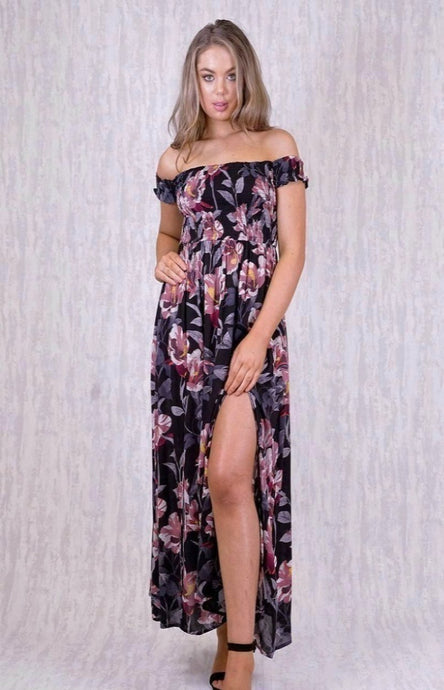 ELLE OFF SHOULDER MAXI DRESS WITH ROUCHED BODICE & SPLITS - Black Floral