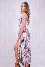 ELLE OFF SHOULDER MAXI DRESS WITH ROUCHED BODICE & SPLITS - Blush Floral
