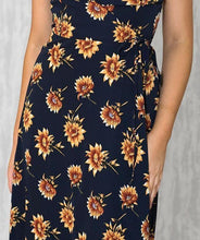 LAYLA WRAP FRONT MIDI DRESS - Navy Floral