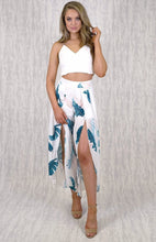 TALIA HIGH WASIT SPLIT FRONT PANTS - White Foliage Print