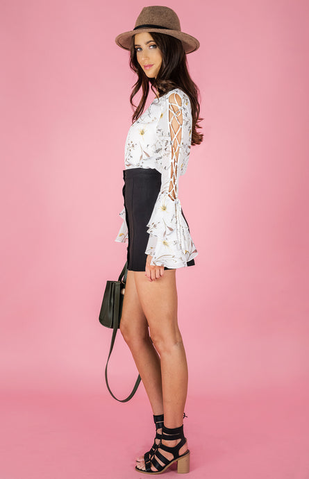 LAURA LACE UP BELL SLEEVE FLORAL PRINT TOP - White