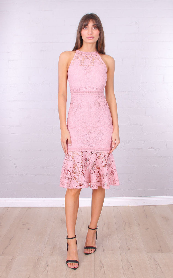 LOLA LACE MIDI DRESS - Blush