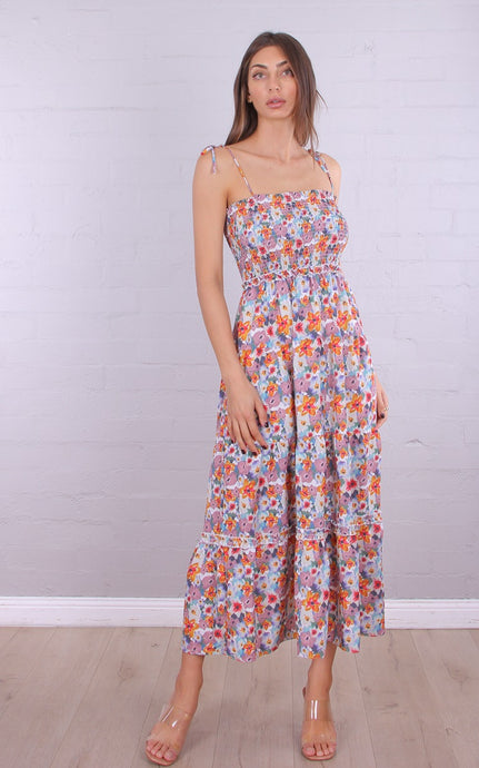 GIGI TIE SHOULDER MAXI DRESS - Multicoloured Floral
