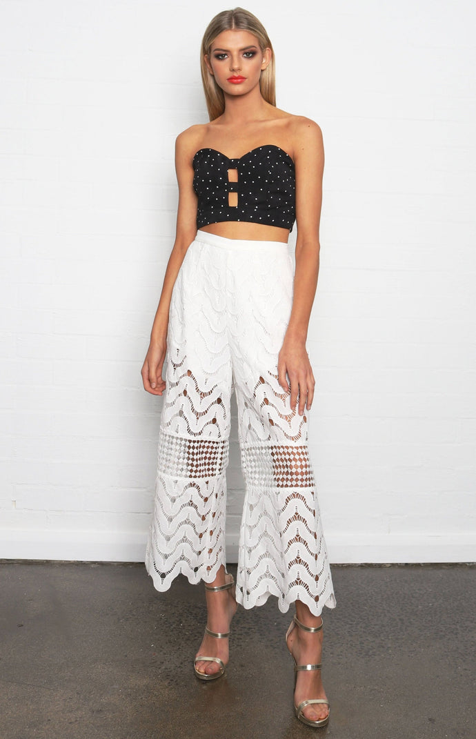 VIENNA LACE CULOTTE CROPPED PANTS - White