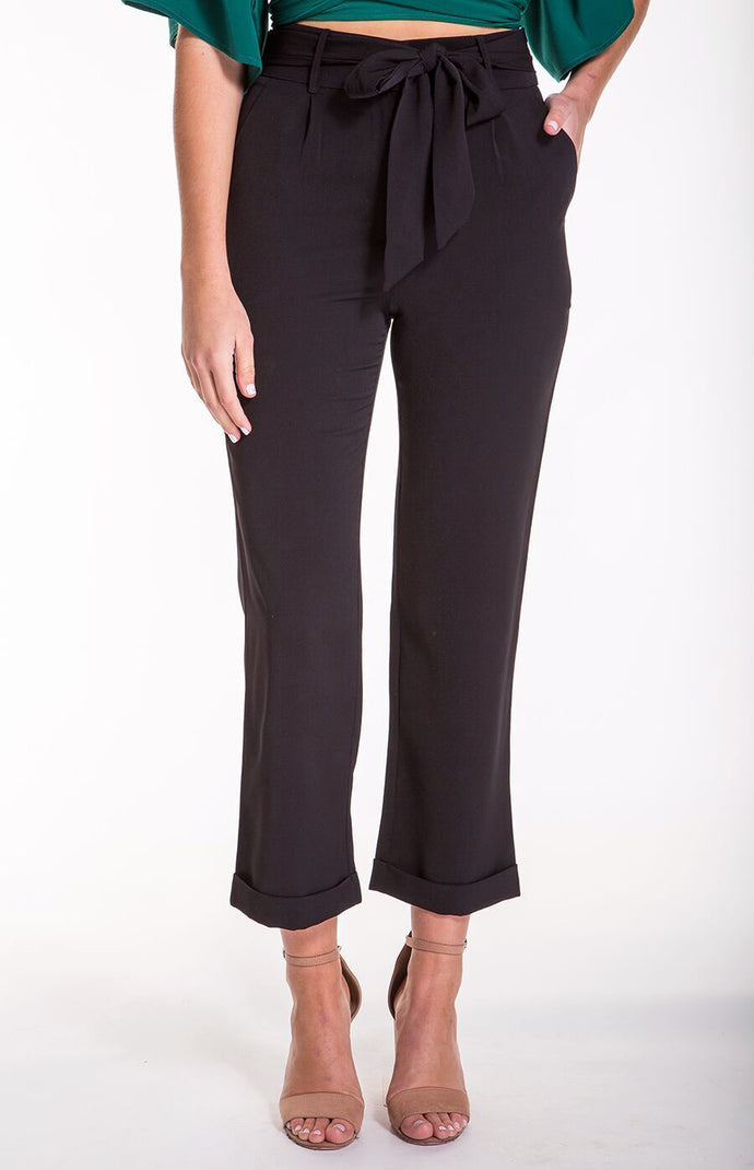 GEORGIA CROPPED CIGARETTE PANTS - Black