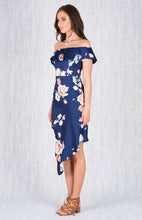 REAH OFF SHOULDER ASYM FLORAL DRESS - Blush or Navy