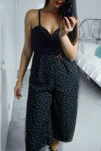PIA WIDE LEG CROPPED JUMPSUIT WITH DETACHABLE STRAPS - Black Polkadot